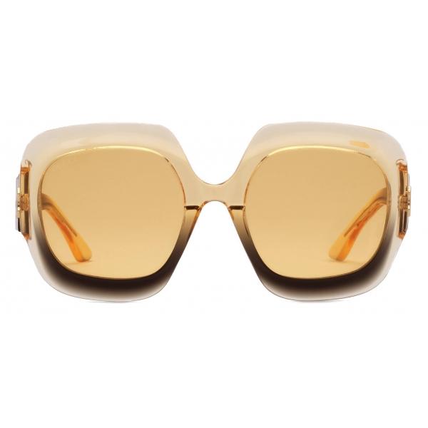 Gucci - Occhiali da Sole Rettangolari - Nero Giallo - Gucci Eyewear