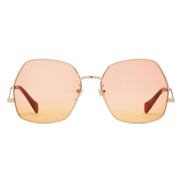 Gucci - Occhiali da Sole Geometrici - Oro Rosa Arancione - Gucci Eyewear