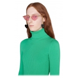 Gucci - Cat-Eye Sunglasses with Heart Shaped Charms - Gold Pink - Gucci Eyewear