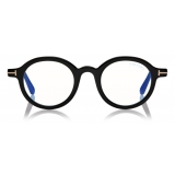 Tom Ford - Round Shape Blue Block Optical Glasses - Black - FT5664-B - Optical Glasses - Tom Ford Eyewear