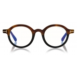 Tom Ford - Round Shape Blue Block Optical Glasses - Striped Black Havana - FT5664-B - Optical Glasses - Tom Ford Eyewear