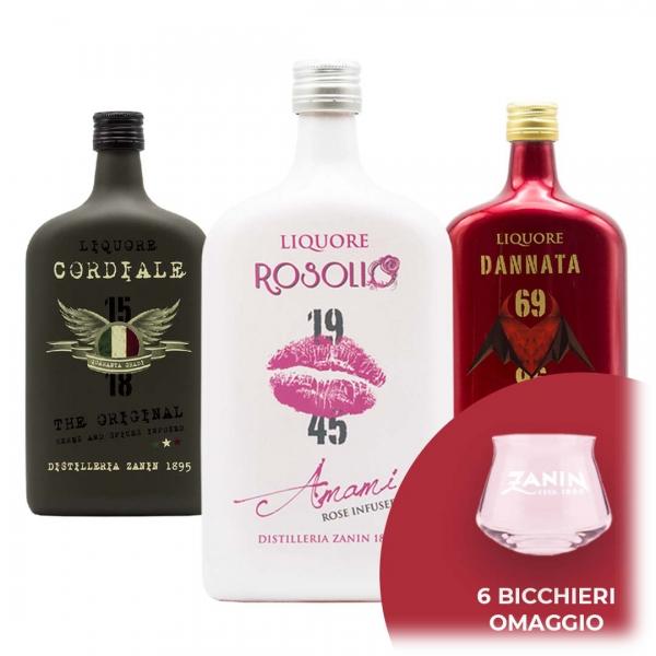 Zanin 1895 - Amarcord - Promo 3 Liquori + 6 Bicchieri Teku Spirit - Cordiale - Liquore - Spirit of Excellence
