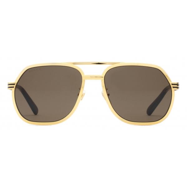 Gucci - Navigator Sunglasses - Yellow Gold Brown - Gucci Eyewear