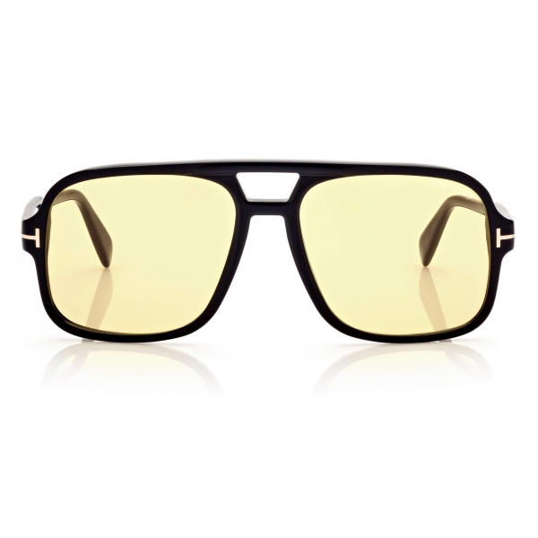 Tom Ford - Falconer Sunglasses Pilota - Nero Lucido Marrone- FT0884 - Occhiali da Sole - Tom Ford Eyewear