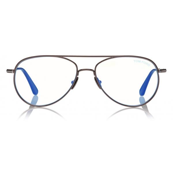 Tom Ford -  Blue Block Pilot Opticals - Pilot Optical Glasses - Gunmetal - FT5693-B - Optical Glasses - Tom Ford Eyewear