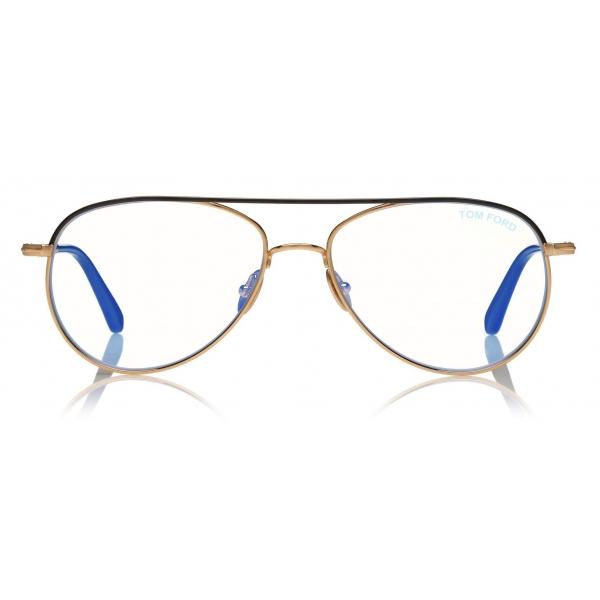 Tom Ford -  Blue Block Pilot Opticals - Pilot Optical Glasses - Gold - FT5693-B - Optical Glasses - Tom Ford Eyewear