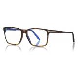 Tom Ford -  Soft Square Shape Blue Block Optical - Dark Havana - FT5696-B - Optical Glasses - Tom Ford Eyewear