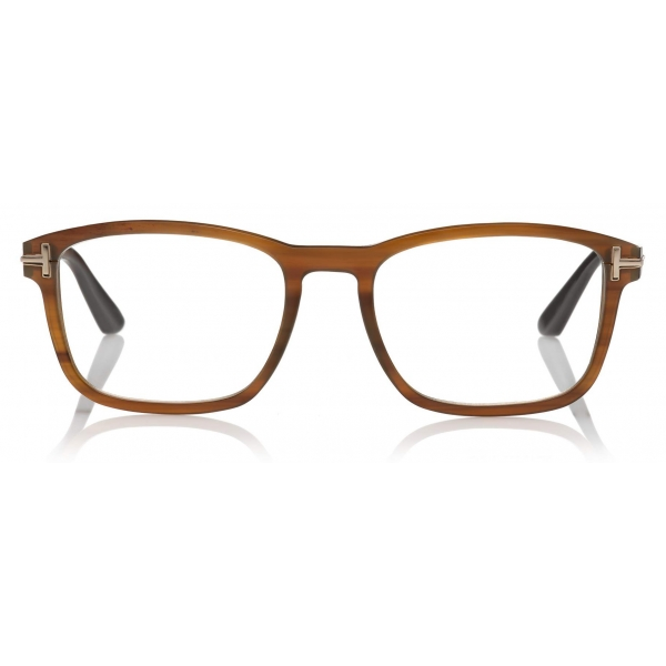 Tom Ford - Rectangular Key Bridge Horn Optical Glasses - Light Horn - FT5718-P - Optical Glasses - Tom Ford Eyewear