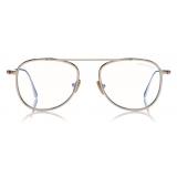 Tom Ford - Round Shape Blue Block Optical - Shiny Rose Gold - FT5691-B - Optical Glasses - Tom Ford Eyewear