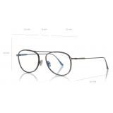 Tom Ford - Round Shape Blue Block Optical -   Dark Ruthenium - FT5691-B - Optical Glasses - Tom Ford Eyewear