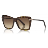 Tom Ford - Leah Sunglasses - Square Sunglasses - Dark Havana - FT0849 - Sunglasses - Tom Ford Eyewear
