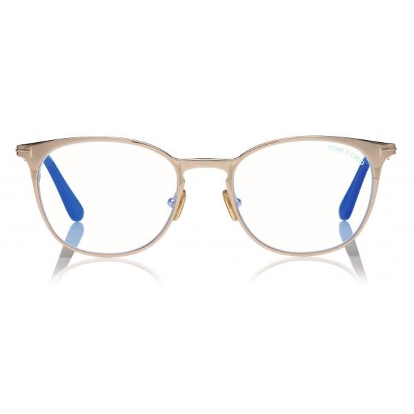 Tom Ford - Blue Block Rounded Opticals - Round Optical Glasses - Rose Gold - FT5732-B - Optical Glasses - Tom Ford Eyewear