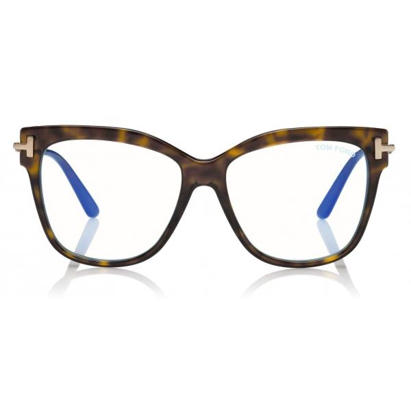 Tom Ford - Square Shape Blue Block Optical - Dark Havana - FT5704-B - Optical Glasses - Tom Ford Eyewear
