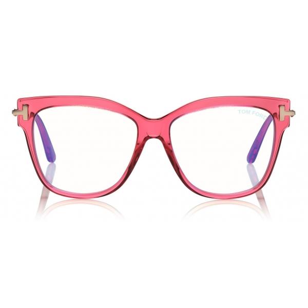 Tom Ford - Square Shape Blue Block Optical - Shiny Red - FT5704-B - Optical Glasses - Tom Ford Eyewear