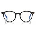 Tom Ford - Round Shape Blue Block Optical - Black - FT5704-B - Optical Glasses - Tom Ford Eyewear