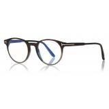 Tom Ford - Round Shape Blue Block Optical - Striped Black Havana - FT5704-B - Optical Glasses - Tom Ford Eyewear