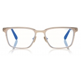Tom Ford - Blue Block Squared Opticals - Shiny Rose Gold - FT5733-B - Optical Glasses - Tom Ford Eyewear