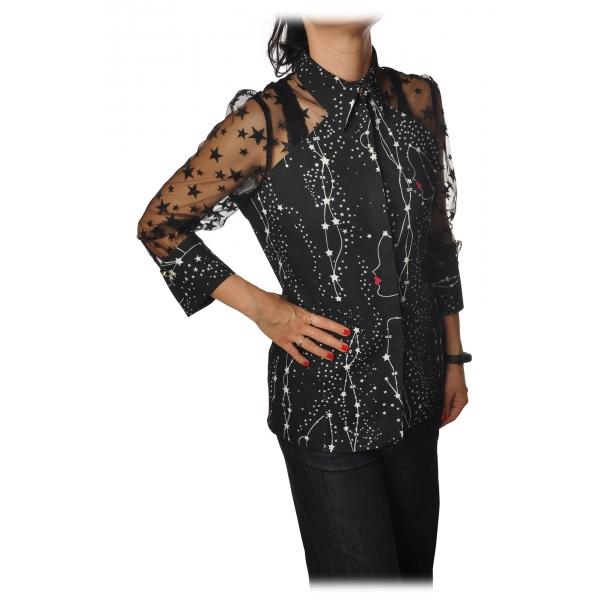 Elisabetta Franchi - Camicia Stampa Stelle e Tulle - Nero - Camicia - Made in Italy - Luxury Exclusive Collection