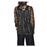 Elisabetta Franchi - Printed Shirt with Tulle - Black - Shirt - Made in Italy - Luxury Exclusive Collection