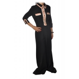 Elisabetta Franchi - Jumpsuit Palazzo Model - Black/Pink - Dress - Made in Italy - Luxury Exclusive Collection