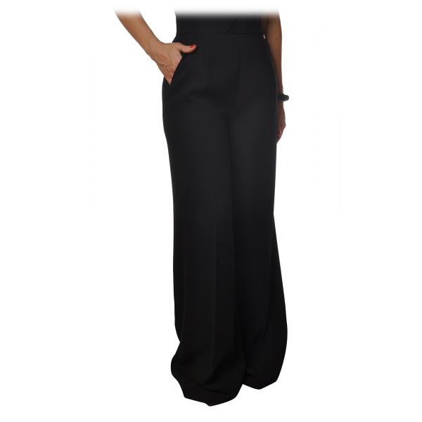 Elisabetta Franchi - Pantaloni Ampio con Cinturino - Nero - Pantaloni - Made in Italy - Luxury Exclusive Collection