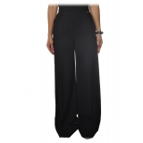 Elisabetta Franchi - Palazzo Trousers with Strap - Black - Trousers - Made in Italy - Luxury Exclusive Collection