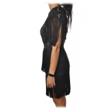 Elisabetta Franchi - Mini Dress with Fringes - Black - Dress - Made in Italy - Luxury Exclusive Collection