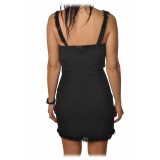 Elisabetta Franchi - Mini Dress with Strass - Black - Dress - Made in Italy - Luxury Exclusive Collection