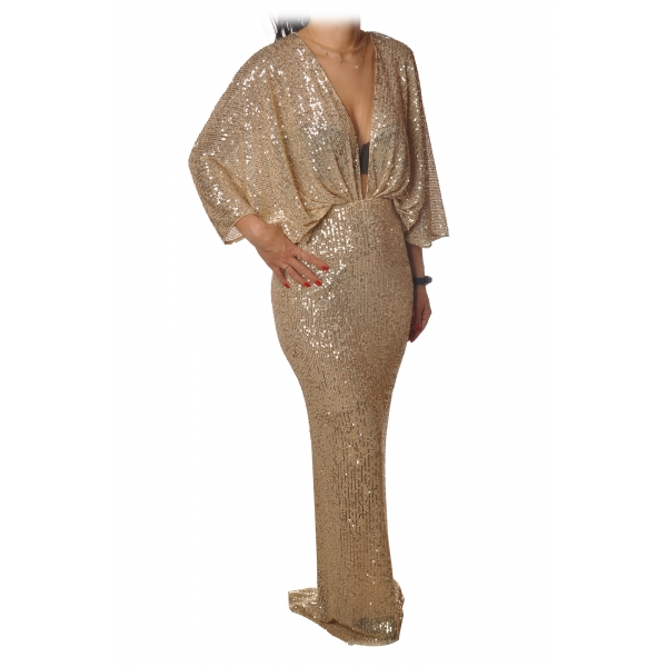 Elisabetta Franchi - Long Dress in Micro Sequins - Gold - Dress - Made in Italy - Luxury Exclusive Collection