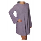 Elisabetta Franchi -  Mini Dress in Laminated Knit - Lavender - Dress - Made in Italy - Luxury Exclusive Collection