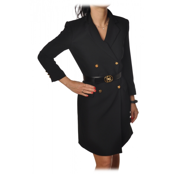 Elisabetta Franchi - Mini Dress Frock Coat Model - Black - Dress - Made in Italy - Luxury Exclusive Collection