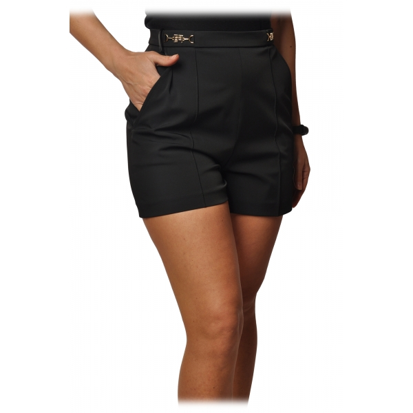 Elisabetta Franchi - Shorts Vita Alta Dettaglio Fibbie - Nero - Pantaloni - Made in Italy - Luxury Exclusive Collection