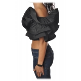 Elisabetta Franchi - Draped Crop Top - Black - Top - Made in Italy - Luxury Exclusive Collection