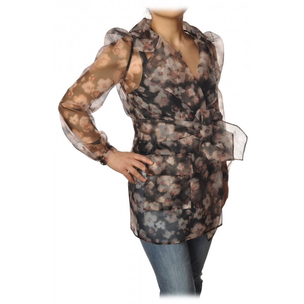 Elisabetta Franchi - Organza Shirt - Black/Pink - Top - Made in Italy - Luxury Exclusive Collection