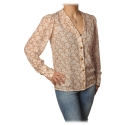 Elisabetta Franchi - Shirt in Abstract Pattern - Butter/Caramel - Shirt - Made in Italy - Luxury Exclusive Collection