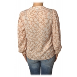 Elisabetta Franchi - Shirt in Abstract Pattern - Butter/Caramel - Top - Made in Italy - Luxury Exclusive Collection