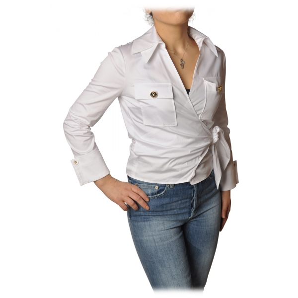 Elisabetta Franchi - Screwed Model Shirt - White - Shirt - Made in Italy - Luxury Exclusive Collection