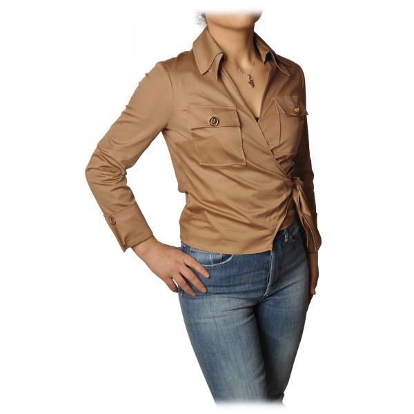 Elisabetta Franchi - Camicia Modello Avvitato - Tortora - Camicia - Made in Italy - Luxury Exclusive Collection