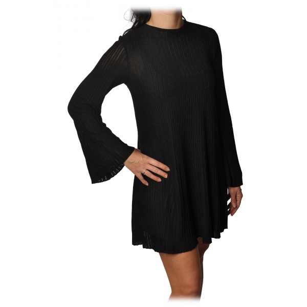 Elisabetta Franchi -  Mini Dress in Laminated Knit - Black - Dress - Made in Italy - Luxury Exclusive Collection
