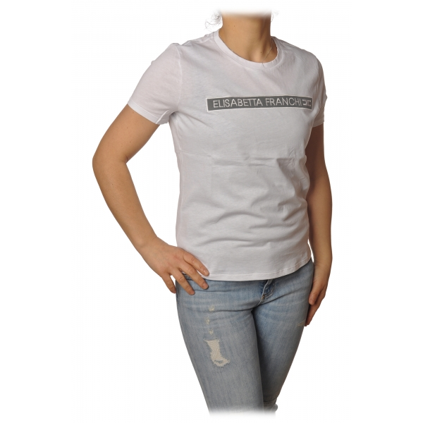 Elisabetta Franchi - Short Sleeve Round Neck T-Shirt Logo - Plaster - T-Shirt - Made in Italy - Luxury Exclusive Collection
