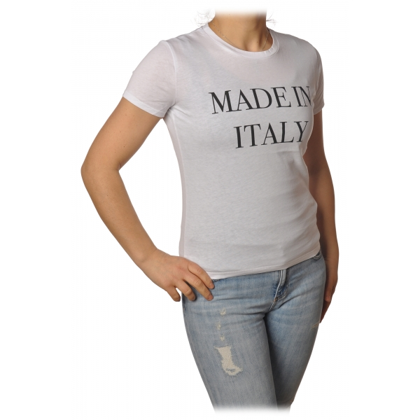 Elisabetta Franchi - T-Shirt Girocollo Made in Italy - Bianco - T-Shirt - Made in Italy - Luxury Exclusive Collection
