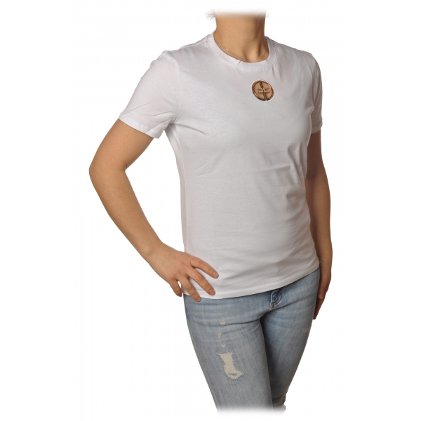 Elisabetta Franchi - T-Shirt with Perforated Metallic Logo - White - T-Shirt - Made in Italy - Luxury Exclusive Collection