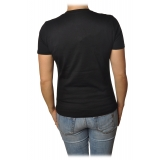 Elisabetta Franchi - T-Shirt with Perforated Metallic Logo - Black - T-Shirt - Made in Italy - Luxury Exclusive Collection