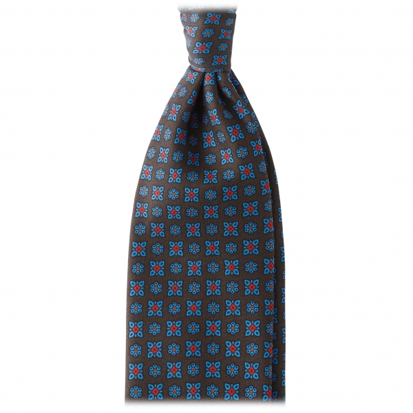 Viola Milano - Artisan Floral Handprinted Ancient Madder Silk Tie - Brown - Made in Italy - Luxury Exclusive Collection