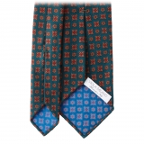 Viola Milano - Artisan Floral Handprinted Ancient Madder Silk Tie - Green - Made in Italy - Luxury Exclusive Collection