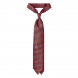 Viola Milano - Artisan Floral Handprinted Selftipped Silk Tie - Rose - Made in Italy - Luxury Exclusive Collection