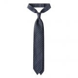 Viola Milano - Artisan Floral Handprinted Selftipped Silk Tie - Grey - Made in Italy - Luxury Exclusive Collection