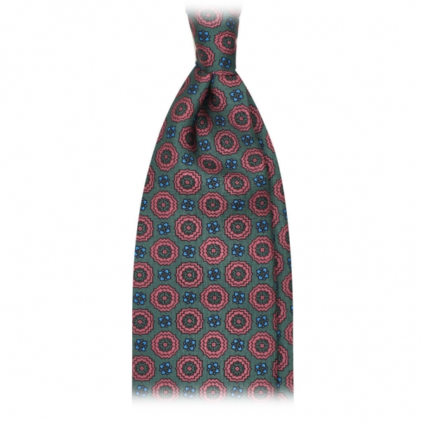 Viola Milano - Artisan Floral Selftipped Italian Silk Tie - Green - Made in Italy - Luxury Exclusive Collection