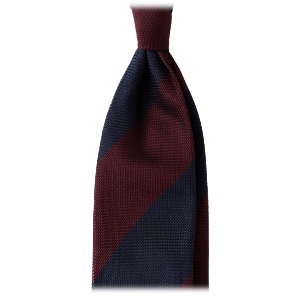Viola Milano -  Block Stripe 3-fold Grenadine Tie – Navy/wine - Made in Italy - Luxury Exclusive Collection