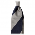 Viola Milano -  Block Stripe 3-fold Grenadine Tie – Navy White - Made in Italy - Luxury Exclusive Collection